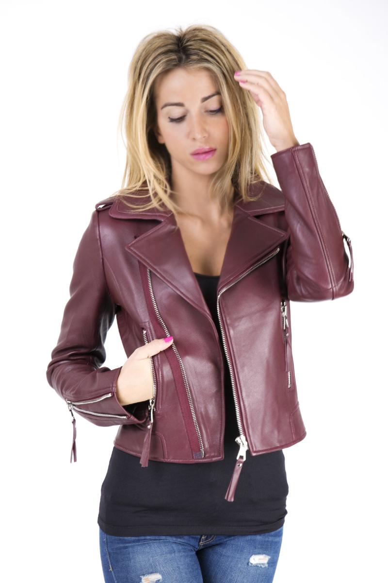Veste femme en cuir bordeaux femme