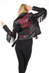 Veste femme en cuir noir