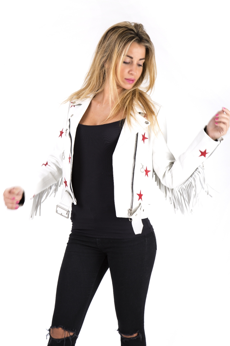 Veste femme en cuir blanc