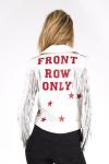Women's white leather jacket