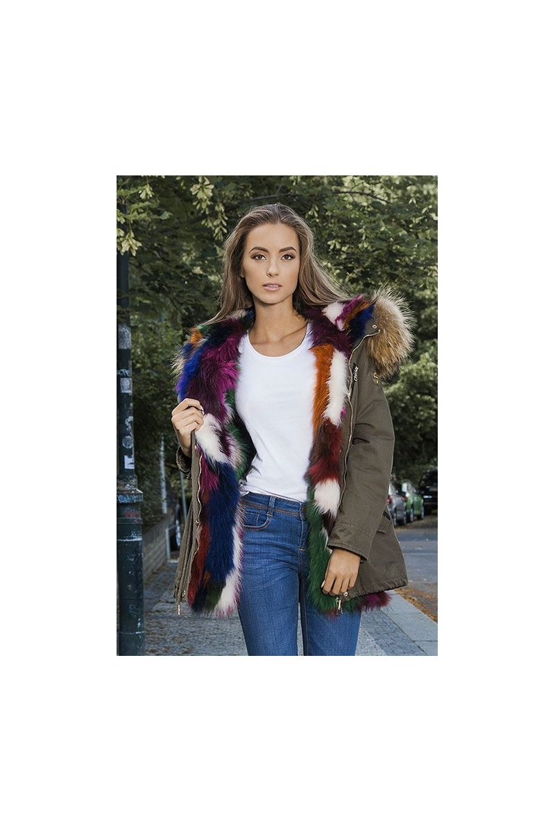 Women's parkas with removable fur hood