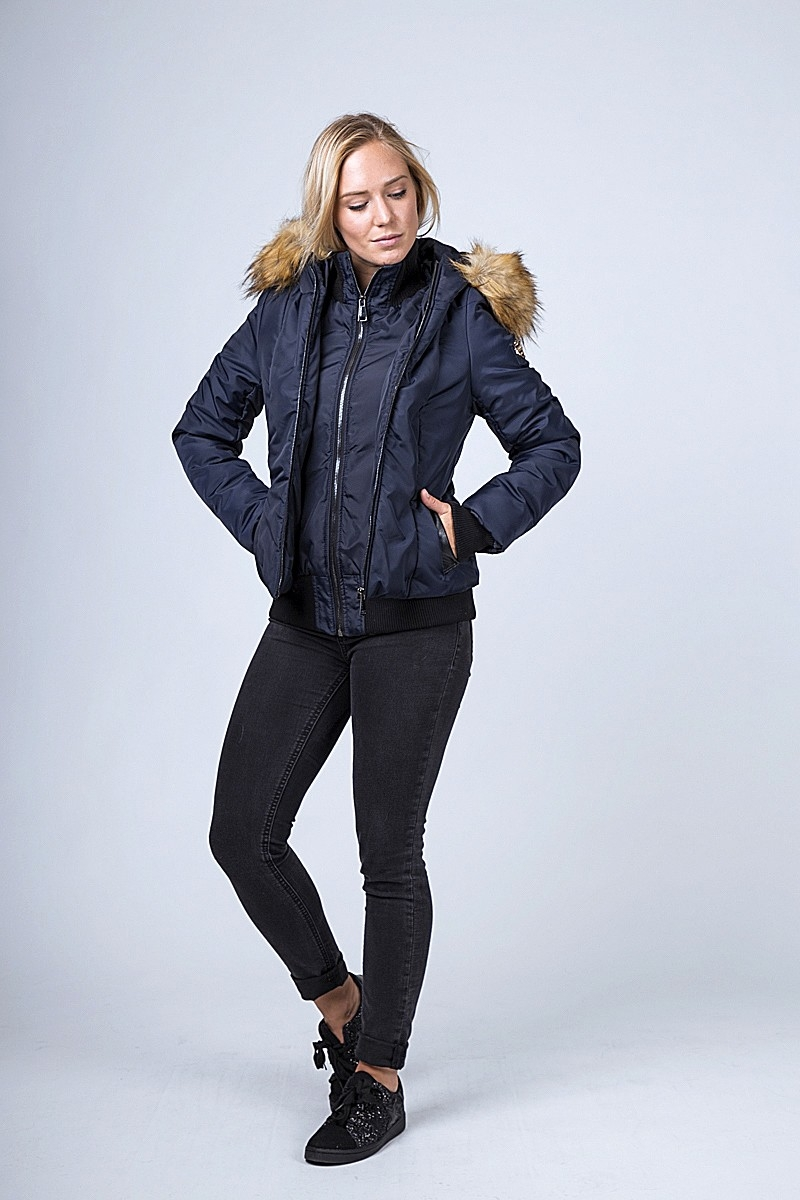 Women's down jackets with removable fur hood